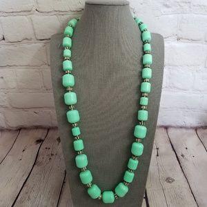 J. Crew Mint Green Barrel Bead Long Necklace